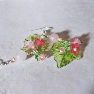 BOGO ♥ Pink Flowers + Green Leaves EarCandy